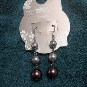 NWT Marks & Spencer tricolour pearl earrings